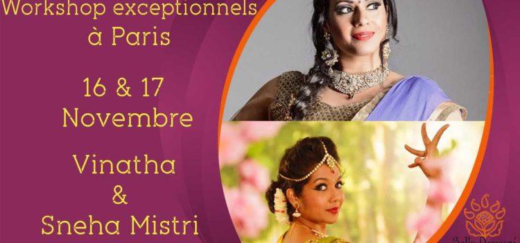 Stage Vinatha et Sneha Mistri le 16 & 17 Novembre 2019
