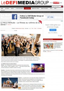 Article Le defi Media Group 16 aout 2014 sur le bolly aerobic