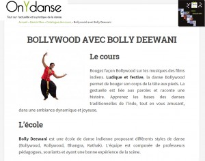 Article On y danse septembre 2014 Bollywood