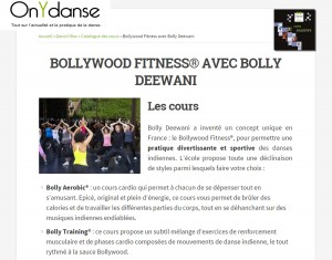 Article On y danse septembre 2014 Fitness Bollywood